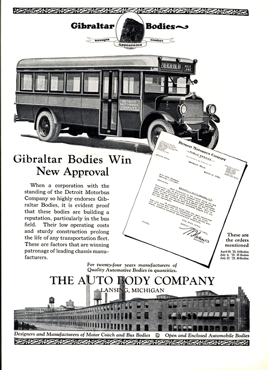 Gibraltar Bodies 1925 Coachbuilder, Auto Body Company, Bus 0001