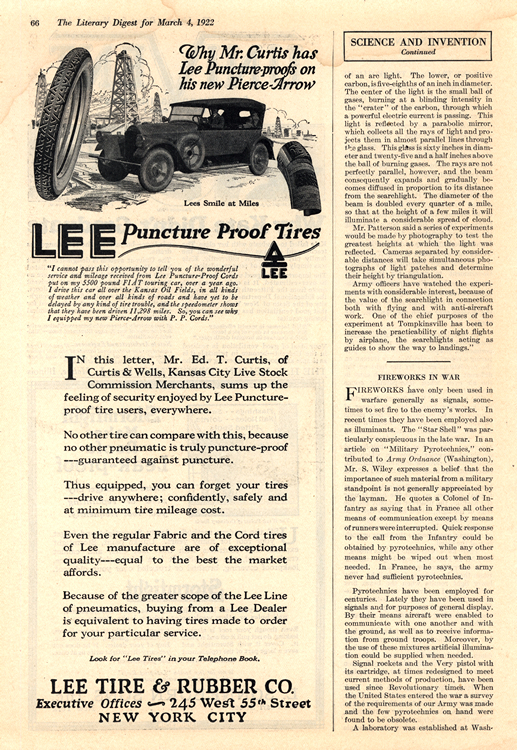 Lee Tires 1922 Pierce Arrow 0001