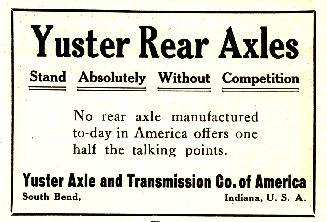 Yuster Axle And Transmission Co. Rear Axles 1910 0001