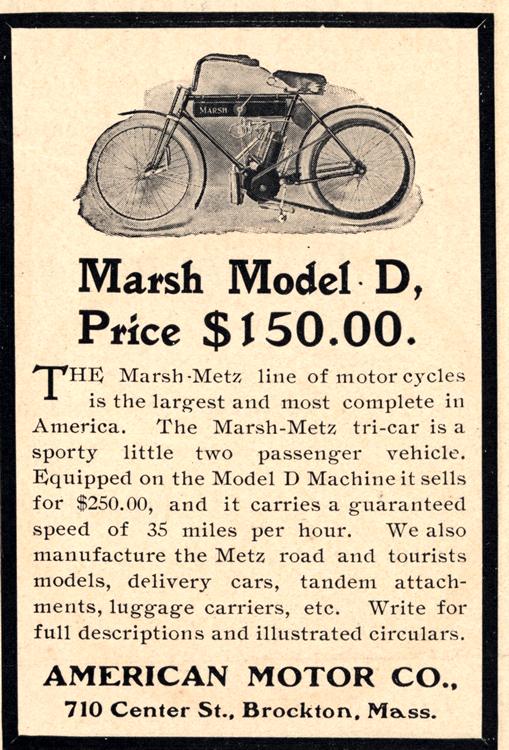 Motorcycles Marsh Metz American 1908 Ca 0001
